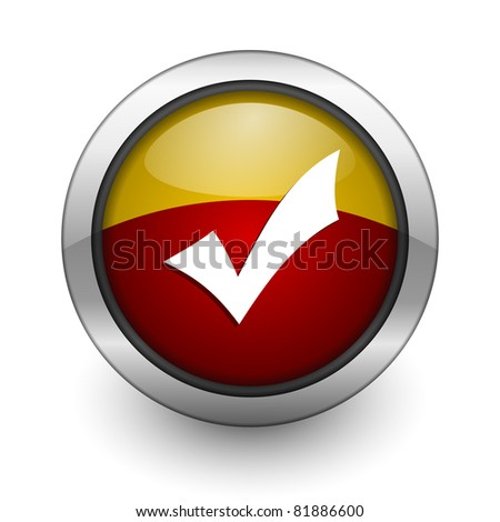 accept red and yellow aqua button - stock photo