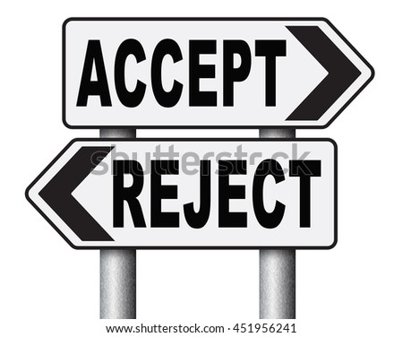 accept reject approve or decline and refuse offer proposal or invitation, yes or no 3D illustration, isolated, on white   - stock photo