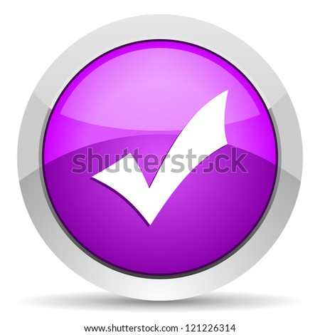 accept violet glossy icon on white background