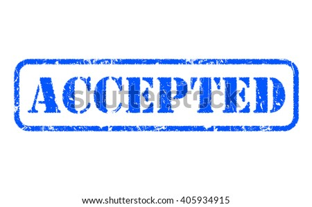 ACCEPTED blue rubber stamp text on white - stock photo