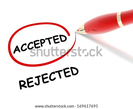 accepted rejected - stock photo