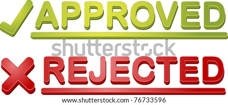 Accepted rejected approval process icon illustration set - stock photo