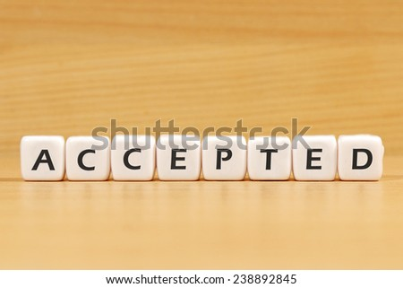 accepted word on white blocks - stock photo