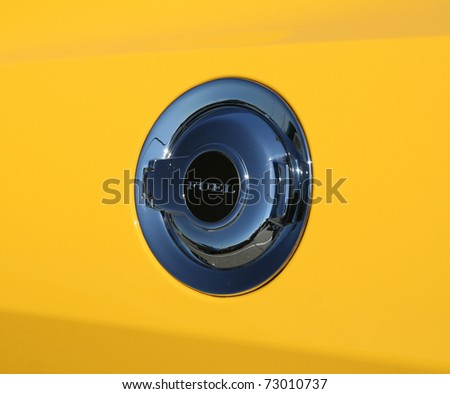 Access door to a bio-fuel hybrid car that uses very little gasoline - stock photo