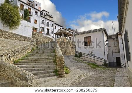 Access road to the Puerta del Sol in Granada - stock photo