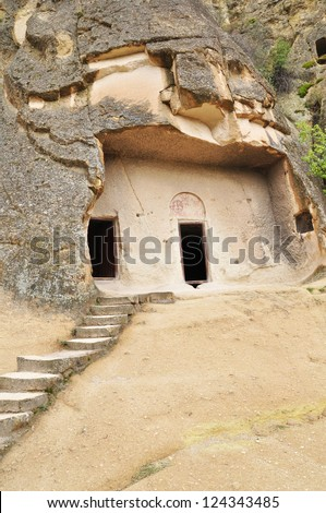 Access Steps Lead to the Monastery built  into the Hillside, Goreme Turkey