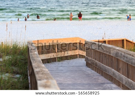 Access to a beach in Panama City, Florida - stock photo