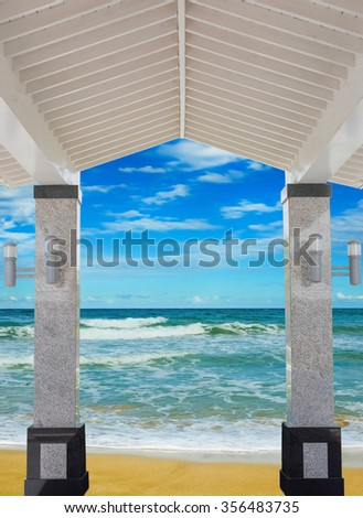 access to the covered porch shore sea sand beach - stock photo