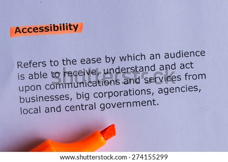 accessibility word highlighted on the white paper