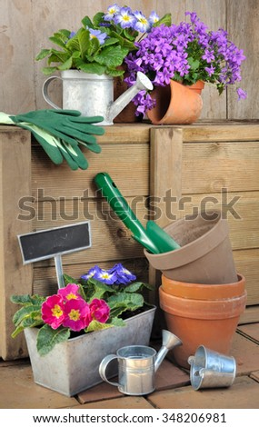 accessories and tool for garden with spring flowers in pot - stock photo