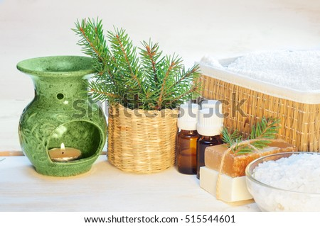 Accessories for bath on white wooden background