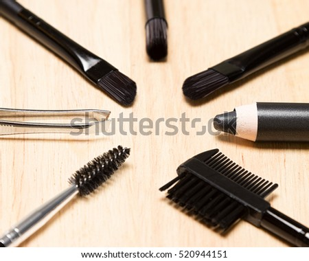 Accessories for care of brows. Eyebrow grooming tools. Shallow depth of field