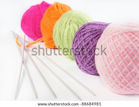 Accessories for knitting - stock photo
