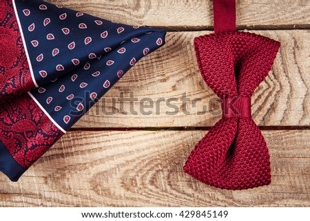 accessories for men: butterfly, ties, cufflinks, for a classic suit - stock photo