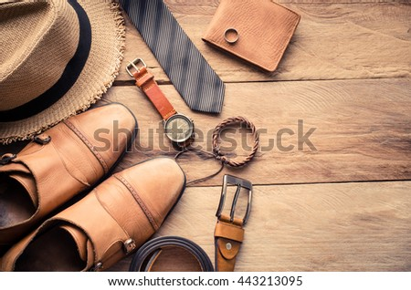 accessories for mens lay on the wooden floor - stock photo