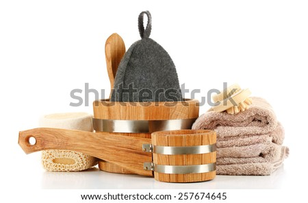 Accessories for sauna, isolated on white - stock photo