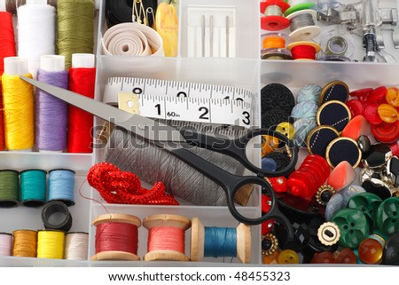 Accessories for sewing necessary to tailor - stock photo