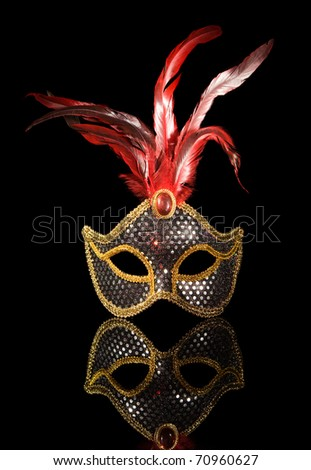 Accessories for the masquerade. Venetian mask and reflection