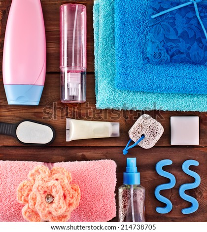 Accessories for the shower. Towels, underwear. Women's Accessories Shower - stock photo