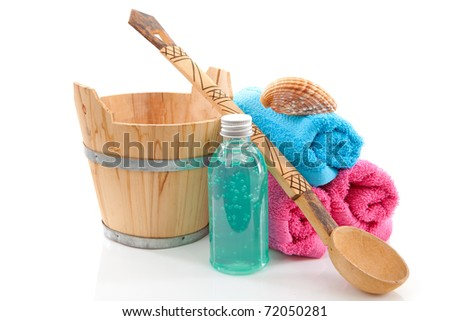 accessory for spa or sauna over white background - stock photo