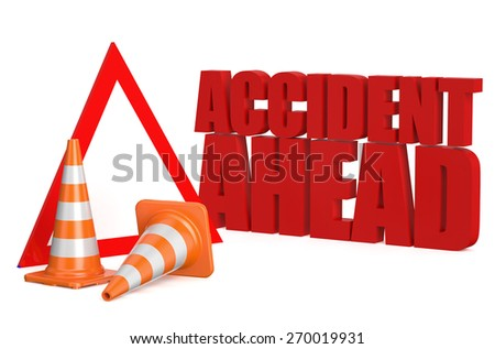accident ahead concept isolated on white background - stock photo