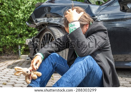 accident and desperate driver - stock photo