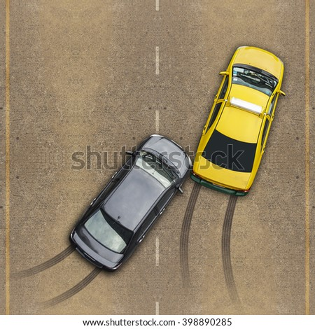 Accident car crash, Aerial view over the road and highway - stock photo