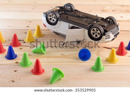 Accident  car model on wooden background drunk driven concept - stock photo