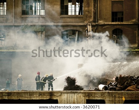accident, crane on fire at bilbao - stock photo