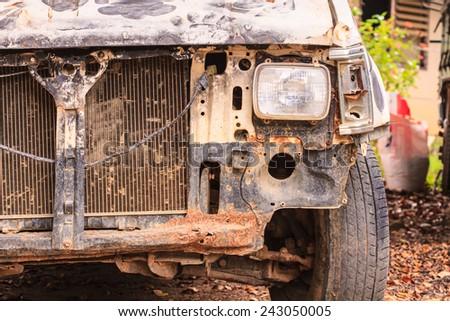 Accident crash damaged car or wreck broken vehicle  - stock photo