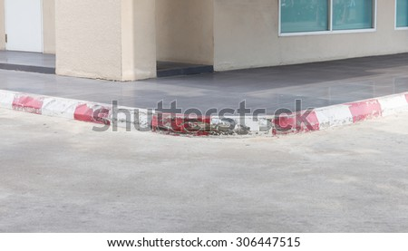 Accident footpath around curves on road. - stock photo