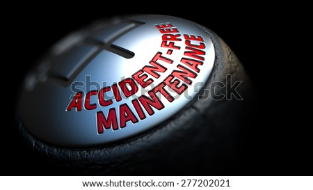 Accident-Free Maintenance. Gear Shift with Red Text on Black Background. Selective Focus. 3D Render. - stock photo