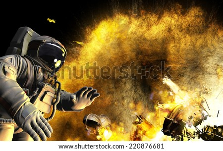 Accident in open space. Meteorite got to space ship. Astronaut was alone in space - stock photo