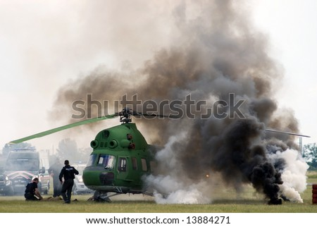 accident on the airport - stock photo