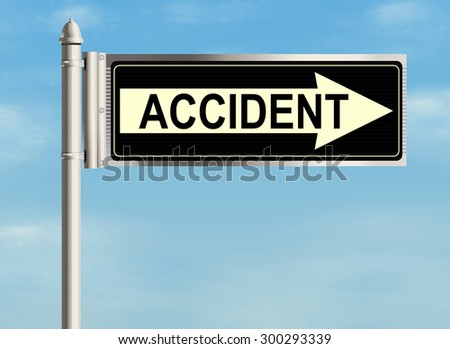 Accident. Road sign on the sky background. Raster illustration.