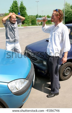 accident two cars, angry businessman and drunk man holding a bottle alcohol - stock photo