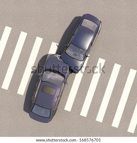 Accident with two cars - stock photo