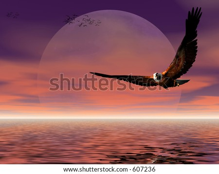 Accipitridae, the american bald eagle flying over the ocean, moonrise, puffy clouds and seagulls in the background, room provided for copyspace.  3D render. - stock photo
