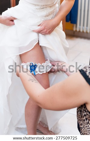 Accommodation garter thigh of the bride - stock photo
