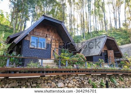 Accommodation, house, resort at Ang Khang mountain, Chiang Mai - stock photo