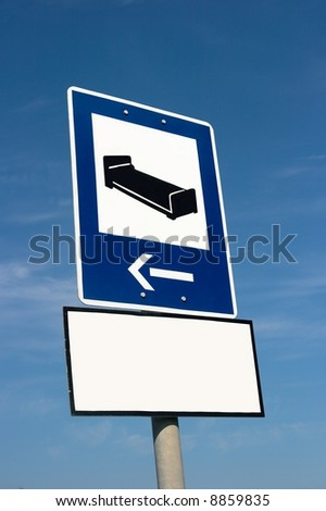 Accommodation sign and an empty white board with copy space - stock photo