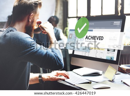 Accomplished Achieved Approve Completed Concept - stock photo