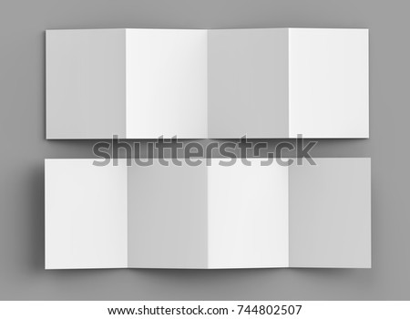 Accordion Fold Brochure Eight Pages Four Stock Illustration - Accordion fold brochure template