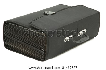 Accordion Style Briefcase On It's Side Isolated On White Background