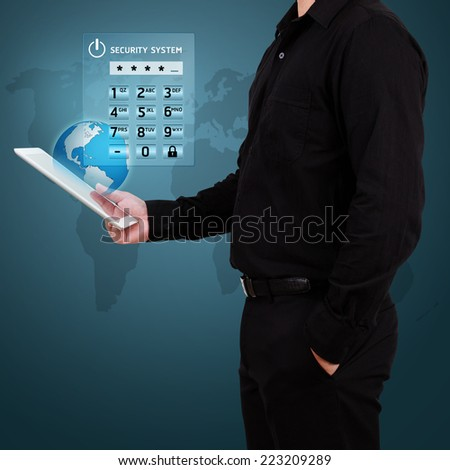 Account authorization interface window with login and password input fields on modern touchscreen smartphone. - stock photo