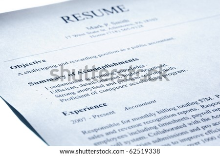 Account manager resume form title page close-up. Blue tint. Shallow DOF.