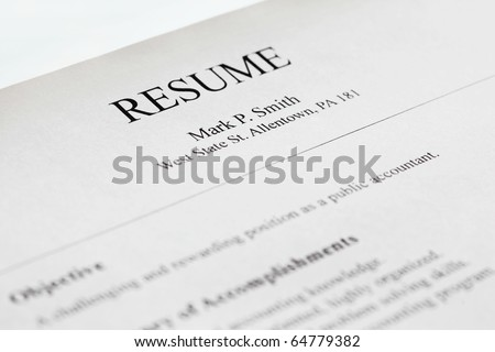 account manager resume form title page stock photo royalty free