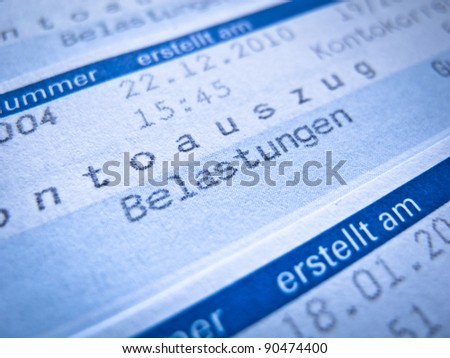 "Account statement with german word for ""Belastungen"" (debt) - stock photo"