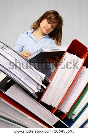 Accountant and business documents - preparing for inspection - stock photo
