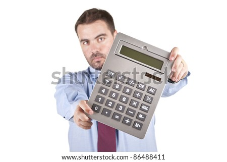 Accountant business man with a big calculator over white background - stock photo